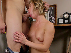 Small boobs blondie gives a blowjob and gets fucked balls deep